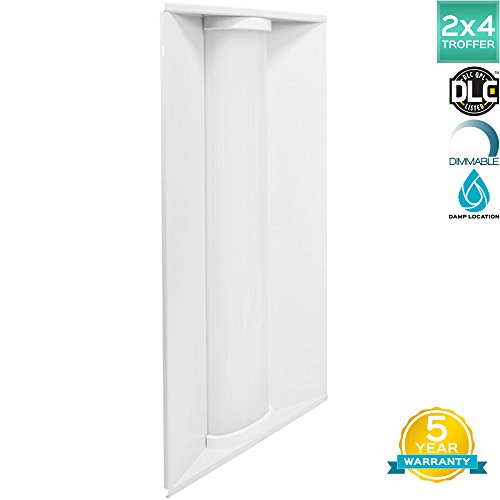 Luxrite 2x4 FT Troffer LED Light Fixture, 50W, 3500K Natural White, 5500 Lumens, Damp Rated, 24x48 Inch LED Lay-In Panel, Dimmable, DLC Listed, UL Listed, 1-Piece