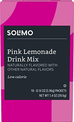 Amazon Brand - Solimo Pink Lemonade Drink Mix Singles (10 -