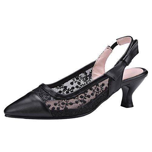 Slingback Sandales Pointu Bout Talons à Black TAOFFEN Chaussures Femmes Moyens xf6wqnB