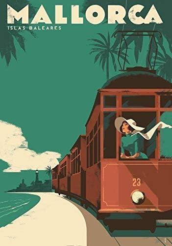 Mallorca - Islas Baleares - Viaje Vintage Foto Impresa Póster City Country Retro Decoración de Pared Tren España 001 (A5-A4-A3) - A3: Amazon.es: Hogar