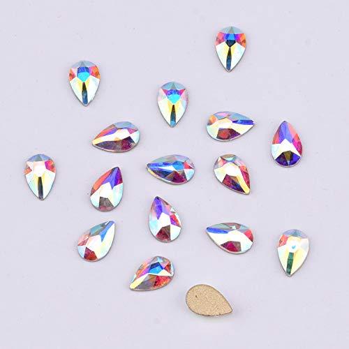 Shinny Flatback Rhinestone Crystal AB 5x8mm Drop Design shape Diamond nails Décor 30pcs