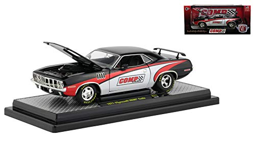 Trunk Barracuda Plymouth (1971 Plymouth HEMI Barracuda Comp Cams Black w/White & Red Limited Edition to 5,880 pcs Worldwide 1/24 Diecast Model Car by M2 Machines 40300-71 B)