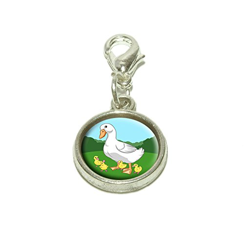 Mama Duck and Ducklings Dangling Bracelet Pendant Charm