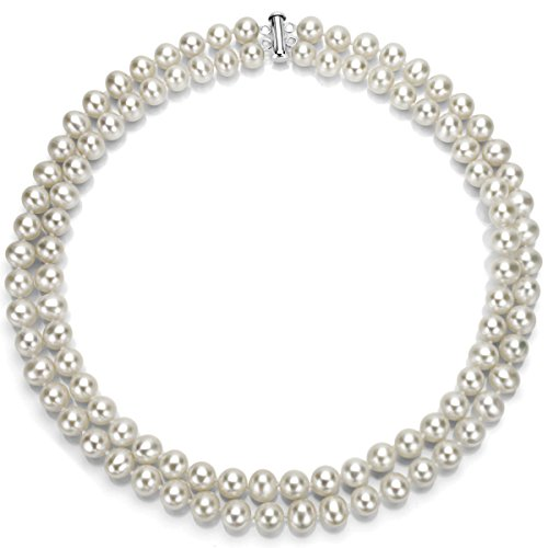 Sterling Silver 2-rows 9-9.5mm White Freshwater Cultured High Luster Pearl Necklace, 17'' by La Regis Jewelry