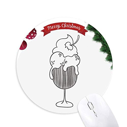 Christmas Trees Design Goblet - Black Outline Cherry Goblet Ice Cream Round Rubber Mouse Pad Christmas Tree Mat