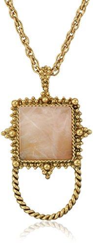 1928 Jewelry Womens Gold-Tone Semi-Precious Rose Quartz Square Eyeglass/Badge Holder Pendant Enhancer, Pink, ()