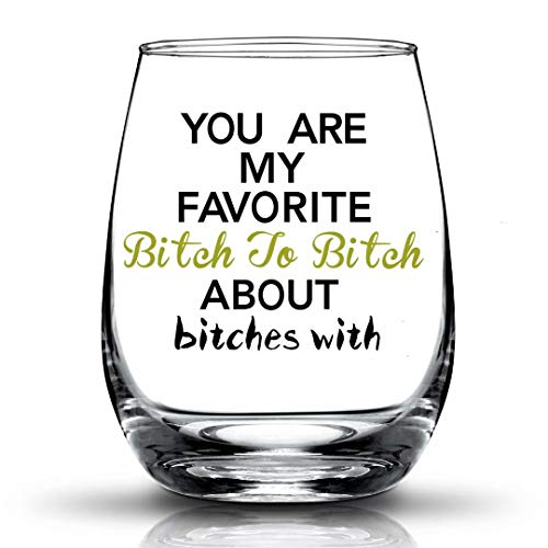 JERIO You're My Favorite, Best Friend Gifts for Women Funny BFF Birthday Gift Idea Girls Bachelorette Party Presents 15 oz Stemless Wine Glass (Cheap Presents For Best Friends)
