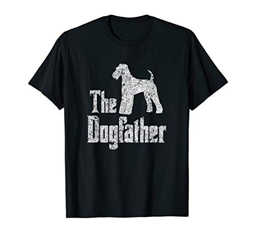 The Dogfather T-Shirt, Airedale Terrier silhouette funny dog