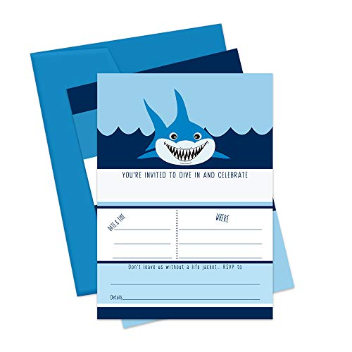 Shark Party Invitations - Pack of 15 Cards with -