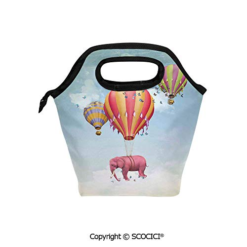 Reusable Printed Design Lunch Bag Pink Elephant in the Sky with Balloons Illustration Daydream Fairytale Travel Decorative Lunch Tote bag for Work and School. ()