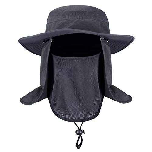 Men Women Outdoor Hat with Wide Brim Sun Protection Summer Cap (Dark Grey) ()