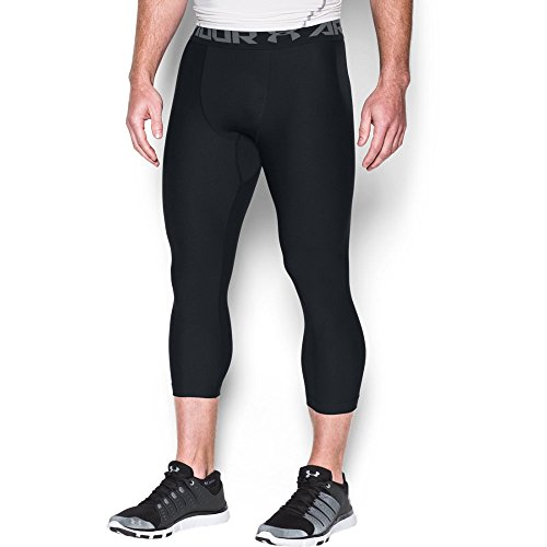(Under Armour Men's HeatGear Armour 2.0 ¾ Leggings, Black (001)/Graphite, Large)