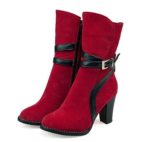 Closed Heels Reißverschluss Damen Toe Frosted Runde High Solider Allhqfashion Rot Stiefel B0TawE1qT