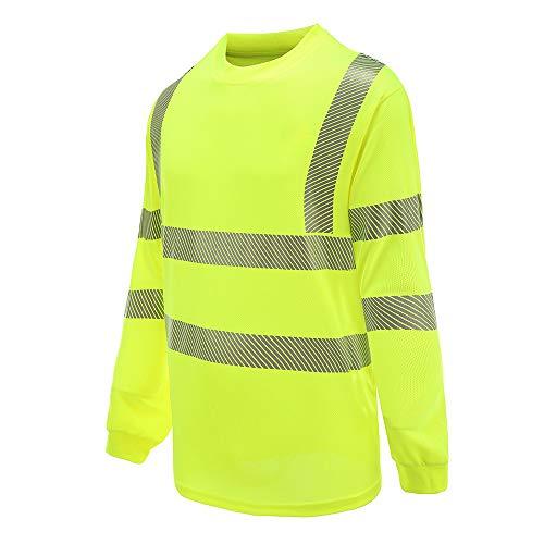 (ENAISSANCE MAN | Class 3 Long Sleeve Safety Shirt | ANSI Work Wear | Hi Vis Moisture Wicking Silver Fishbone | Men Women Construction Exercise Security (M, YELLOW))