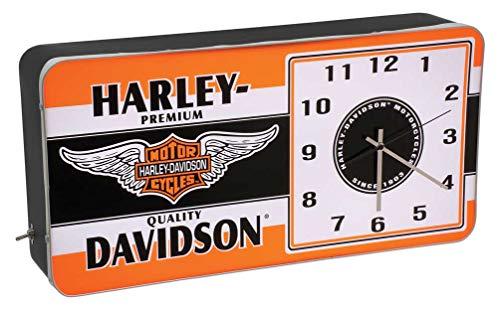 Harley-Davidson Winged Bar & Shield LED Vintage Ad Metal Clock HDL-16641