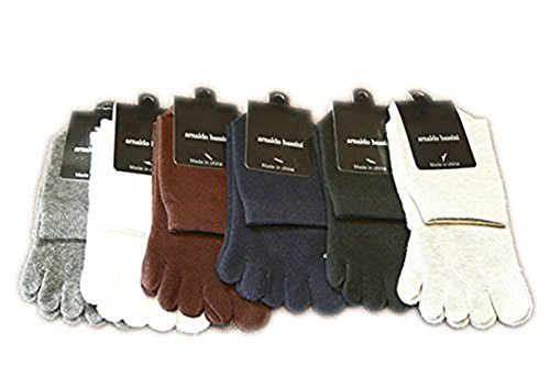 USOLDFLY Men's Cotton Short Toe Socks Five Finger 6 Pairs (Climacool Volleyball Shoe)