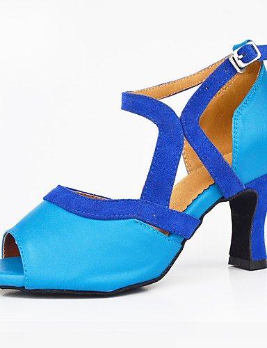 La mode moderne Sandales femmes personnalisables verni semelle en cuir chaussures de danse salsa/latin/moderne /Swing Noir Talon Chaussures de danse latino/Sneakers/Tap,bleu,US5.5/UE36/UK3.5/CN35