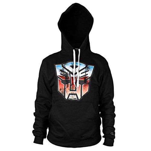 Ufficiale Distressed Transformers Autobots Shield Logo Nero con Cappuccio Pullover