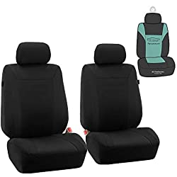 FH Group FB054102 Cosmopolitan Flat Cloth Pair Set Car Seat Covers, Airbag Compatible, Beige/Black Color w. Gift -Fit Most Car, Truck, SUV, or Van