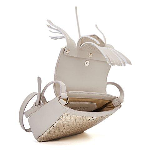 borsa Patrizia Pepe paillet larg. 18 cm alt. alt. 17 cm alt. tracolla 54 cm colore bianco oro