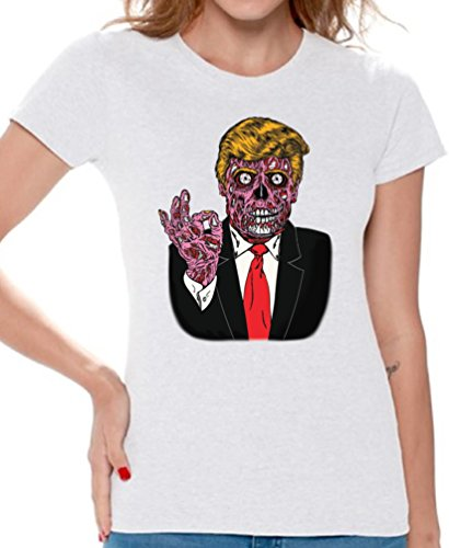 Awkward Styles Women's Zombie Trump T shirts Tee Tops for Women Trump Halloween Costume Trumpkin White S