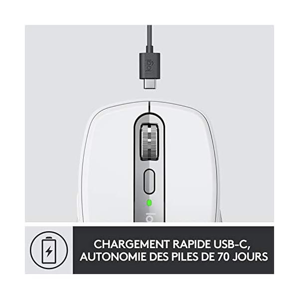 Logitech MX Anywhere 3, Souris Compacte, sans Fil, Défilement Magnétique, Toute Surface, Capteur 4 000 PPP, Boutons…