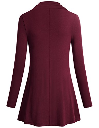 Miusey Womens Tunic Tops Ladies Long Sleeve Easy Fit Outdoor T Shirt Flowing Cowl Neck Button Décor Pullover Knit A Line Elastic Youth Blouses Pregnancy Plus Size Sweaters Wine XXXL by Miusey (Image #1)