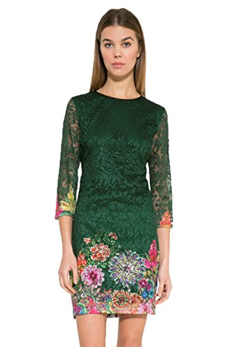 Desigual Women's Green 3/4 Sleeve Lace Chipi Dress 36 UK 8