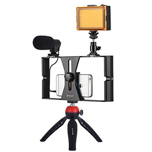 Smartphone Video Rig Kit PULUZ Smartphone Video Grip with Microphone + Video Light + Cold Shoe Tripod Head + Mini Tripod for iPhone Samsung and Most Phones Within 7-inch Screen (Red)