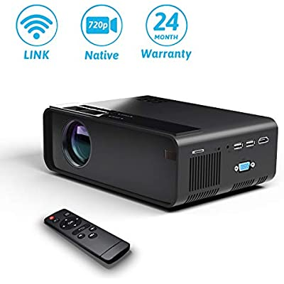 YONTEX Wireless Projector  WIFI 4500Lumes 720P Home Cinema Projector 1080P Support with Speaker  Directly Connect with Phone  Tablet  and Laptop  Compatible with HDMI VGA USB SD  Black