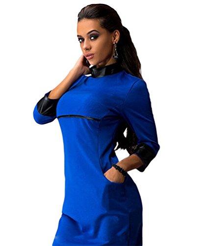 YiLianDa Moda Manga Larga PU Piel Sintética Minivestido Bodycon de Tubo Ajustado Lápiz Vestido Azul