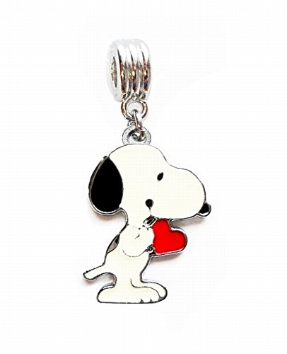 Heavens Jewelry SNOOPY DOG IN LOVE PEANUTS CHARM PENDANT FOR NECKLACE EUROPEAN CHARM BRACELET (Fits Most Name ()
