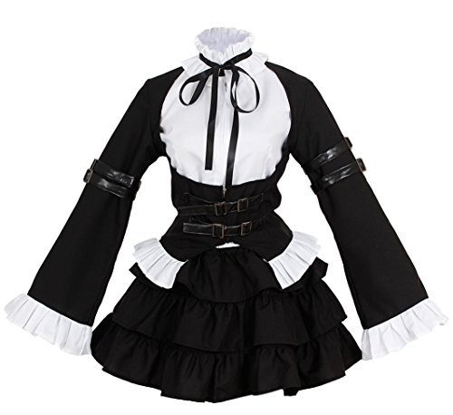 Nuoqi Anime Erza Cosplay Costume Girl Sailor Uniform Black Maid Outfit CC508A-S