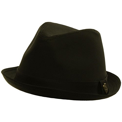 Men's Summer Cotton Upturn Brim Retro Lining Fedora Trilby Hat Black S/M 56cm