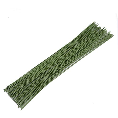 100Pcs Dark Green Floral Paper Wrapped Wire,18 Gauge Floral Stem Wire(16inch) ()