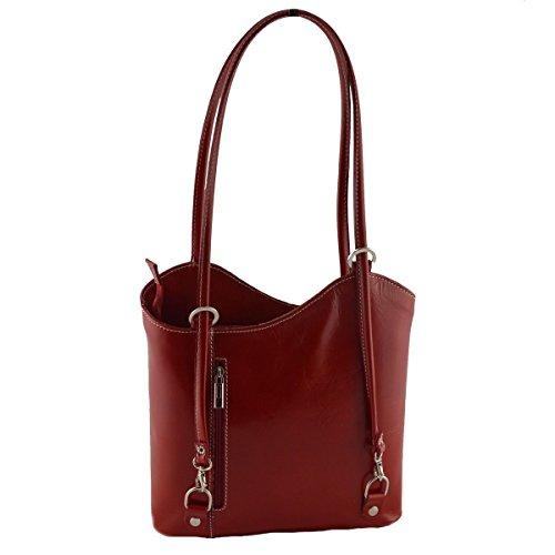 Borsa A Tracolla In Pelle Colore Rosso - Pelletteria Toscana Made In Italy - Borsa Donna