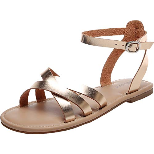 Women's Wide Summer Flat Sandals - Open Toe One Band Ankle Strap Flexible Shoes.(181262 Gold,12) (Best Shoes For Plus Size Women)