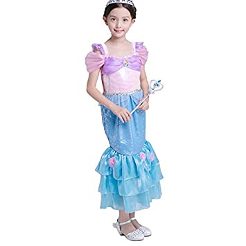282e56d982dd7 コスプレ 人魚 アリエル 風 ハロウィン キッズ 子供 なりきり 衣装 女の子 (140cm)
