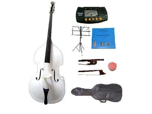 GRACE 4/4 Size White Upright Double Bass with Bag,Bow,Bridge+2 Sets Strings+Rosin+Music Stand+Metro Tuner by Grace
