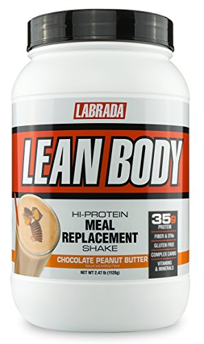LABRADA NUTRITION  Lean Body High Protein Meal Replacement Shake, Whey Protein Powder for Weight Loss and Muscle Growth, Chocolate Peanut Butter, 2.47LB Tub