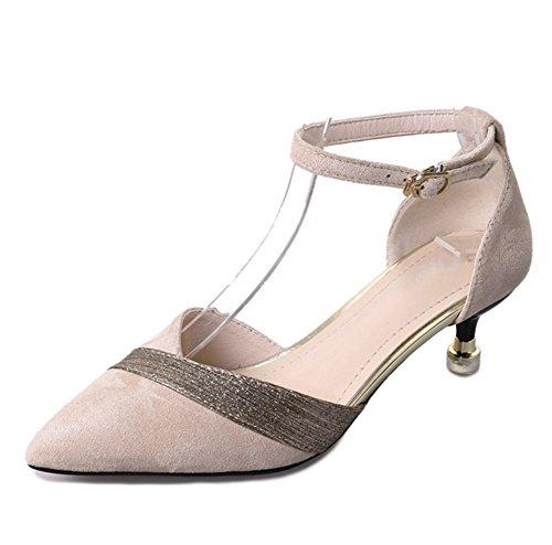 Sandales moyens Femmes sauvages Creux en Sandales à daim xie Chaussures Chaussures 35 Beige 38 Femmes talons Conseils Tempérament Femmes wInvq