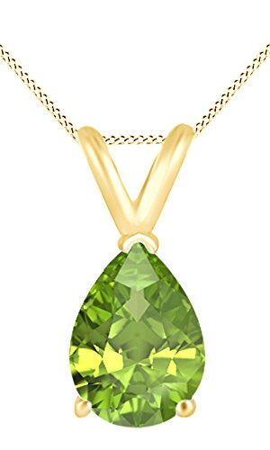 Jewel Zone US AFFY Women's Classic Simulated Peridot Pear Shape Pendant Necklace in 10k Solid Yellow Gold (2 1/2 cttw)