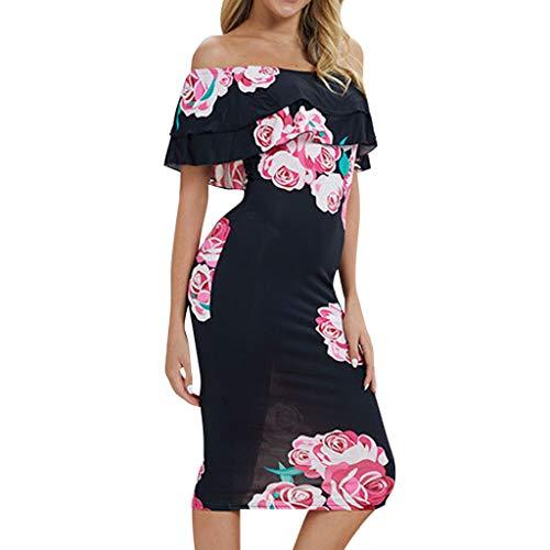 Women's Beach Dresses Vintage Floral Printing Off Shoulder Backless Bodycon Midi Dress (XXL, Black) ()