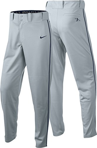 Nike Men's Swingman Dri-FIT Piped Baseball Pants (Grey/Blue, Large) by NIKE