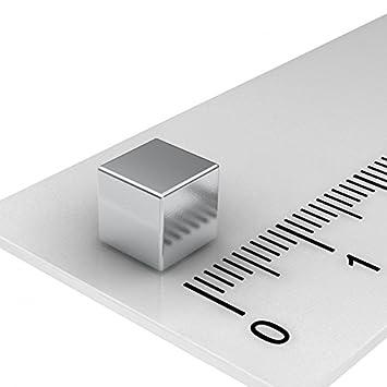 100 Stück Neodym Würfelmagnete Magnetwürfel 6x6x6 mm N45 vernickelt