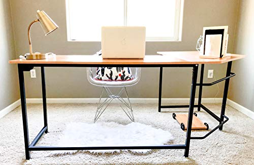 - Sleekform L-Shaped Corner Computer Desk for Home or Office   Gaming Table or Workstation   Made from Wood and Metal with a Teak Finish   Modern Furniture for Studying, Writing, and Working