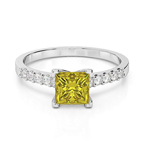 G-H/VS 1CT Coupe Princesse sertie de diamants Saphir Jaune et bague de fiançailles en platine 950Agdr-1210