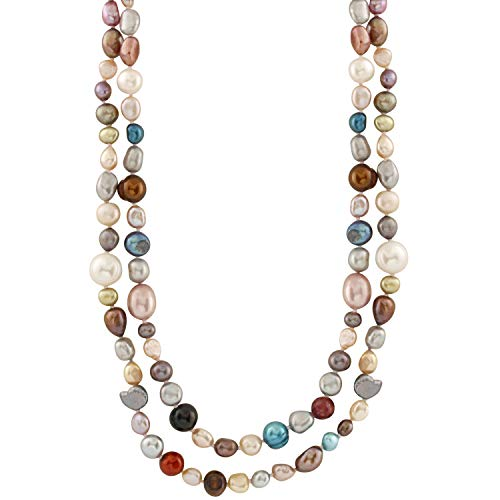 Handpicked A Quality Multicolor Dyed Mixed Sizes Freshwater Cultured Pearl Strand Endless 48