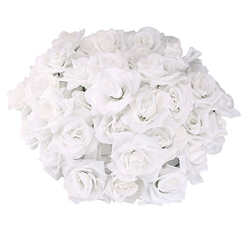 Topixdeals Silk Cream Pink Roses Flower Head, Artificial Flowers Heads for Wedding Flowers Accessories Make Bridal Hair Clips Headbands Dress (50 White)