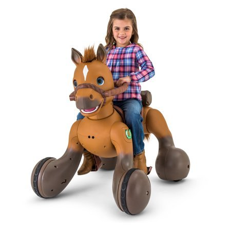 Adorable,Fun and Exciting 12-Volt Rideamals Scout Pony Interactive Ride-On Toy,With Over 100 Unique Sounds and Movements,Including a Special Dance,Brown,Makes a Great Gift